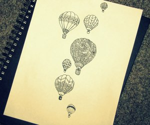 drawing and hot air ballons image