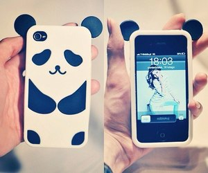 panda, iphone, and case image