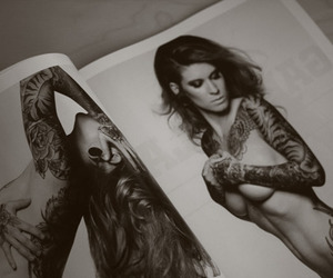 black and white, inked, and tattooed image