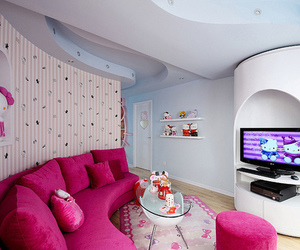 couple, living room, and hello kitty image