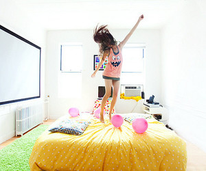 girl, bed, and jump image