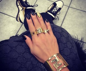 nails, bracelet, and gold image