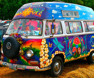 bus, colourful, and hippie image