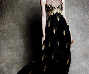 dress, gold, and black image