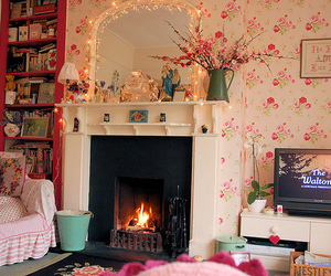 room, pink, and fireplace image