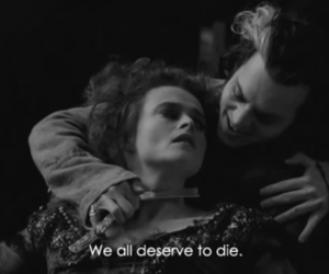 johnny depp, sweeney todd, and black and white image