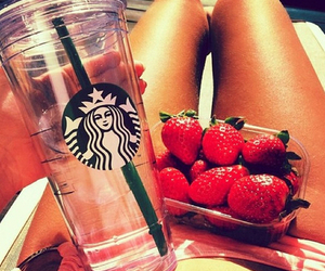 strawberry, summer, and starbucks image