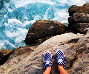 vans, shoes, and sea image