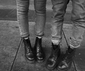 black and white, boots, and jeans image