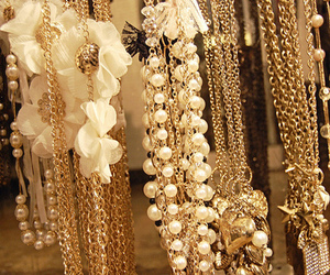 gold, necklace, and pearls image