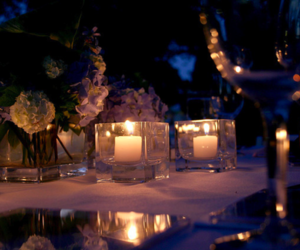 candle, flowers, and night image