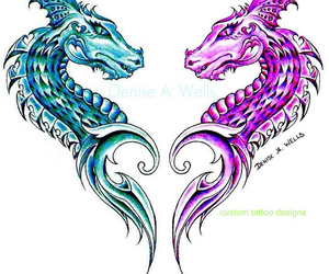 artwork, black and white, and tattoo dragon image