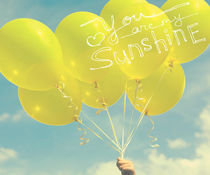 balloons, sunshine, and yellow image