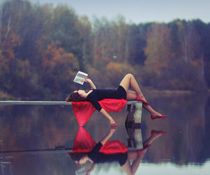 book, red, and lake image