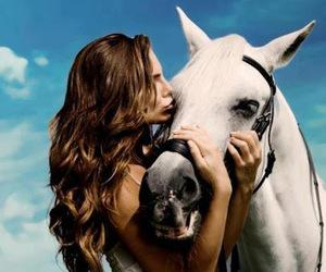 horse, kiss, and woman image