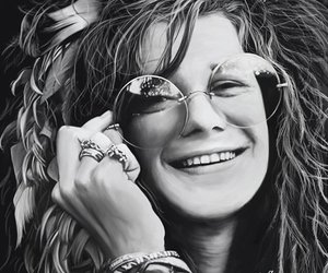 janis joplin and black and white image