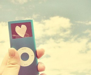 heart, ipod, and blue image
