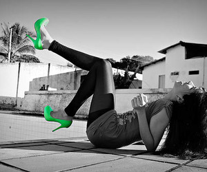 girl, green, and shoes image