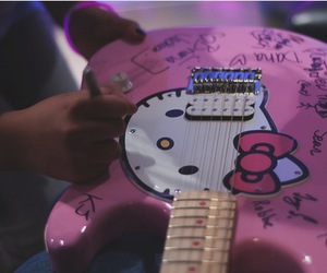 electric guitar, hello kitty, and photography image
