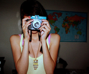 camera, girl, and owl necklace image