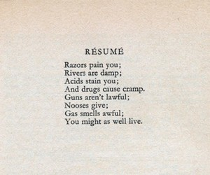 dorothy parker, quote, and resume image