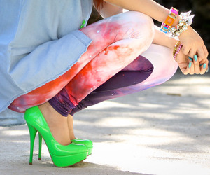 fashion, green, and galaxy image