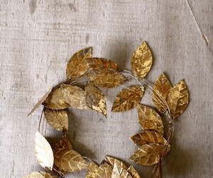 leaves, gold, and crown image