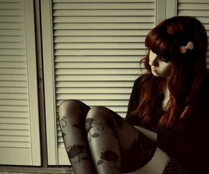 girl, redhead, and thinking image