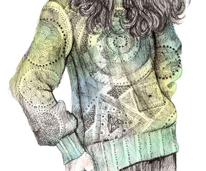 drawing, illustration, and sweater image