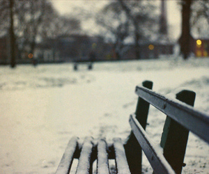 winter, snow, and bench image