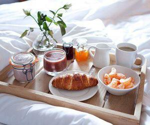 breakfast, food, and bed image