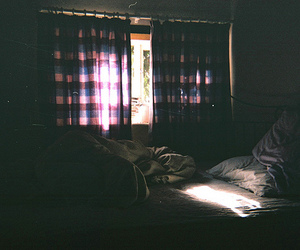 bed, room, and dark image