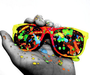 glasses, sunglasses, and paint image
