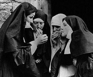 nun, smoke, and black and white image