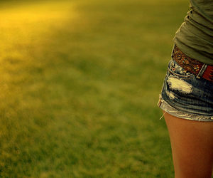 girl, shorts, and grass image