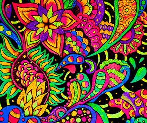 flowers, colors, and psychedelic image