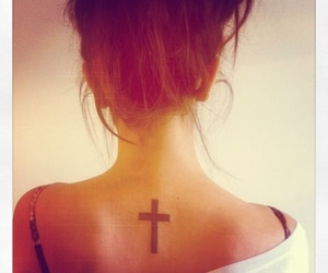 cross, neck, and tattoo image
