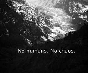 black and white, text, and chaos image