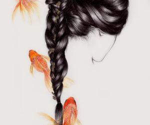 art, fish, and hair image