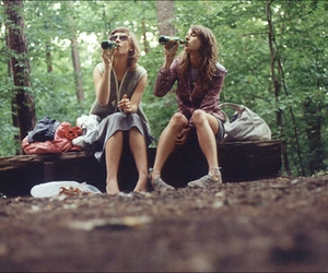 drinking, nature, and girls image