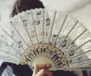 fan, lace, and vintage image