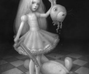 art, macabre, and black and white image