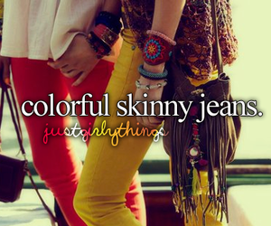 jeans, colorful, and skinny image