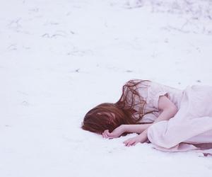 dress, girl, and snow image