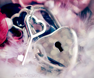 heart, key, and lock image