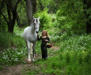girl, forest, and horse image