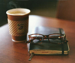 coffee, book, and glasses image