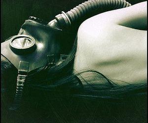 girl, mask, and gass mask image