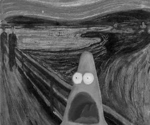 funny, patrick, and black and white image