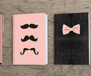 mustache, notebook, and bow image